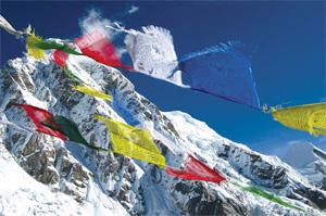 Nepal himalayan khumbu prayer flags pumori peak Annapurna Base Camp Trek
