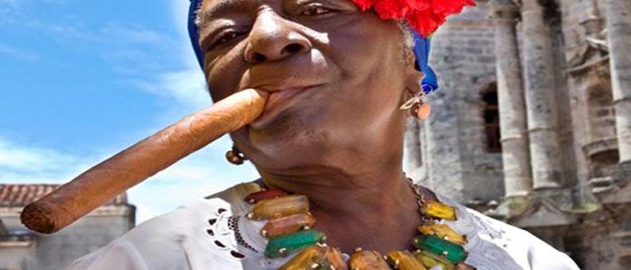 Cuba woman smoking cigar