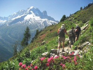 Walking trail along Mont Blanc circuit