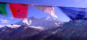 Prayer flags on Annapurna circuit trek