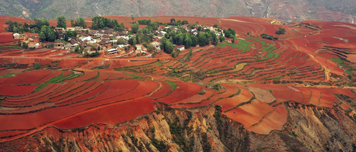 Village red field Dongchuan Kunming Yunnan