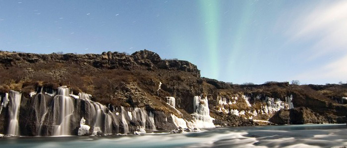 Iceland Volcanoes and Glaciers Northern lights and Hraunfossar