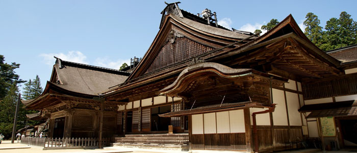 Koya san japanese temple across the roof of Japan