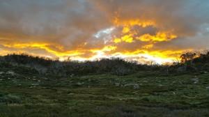 Sunset from round mountain hut